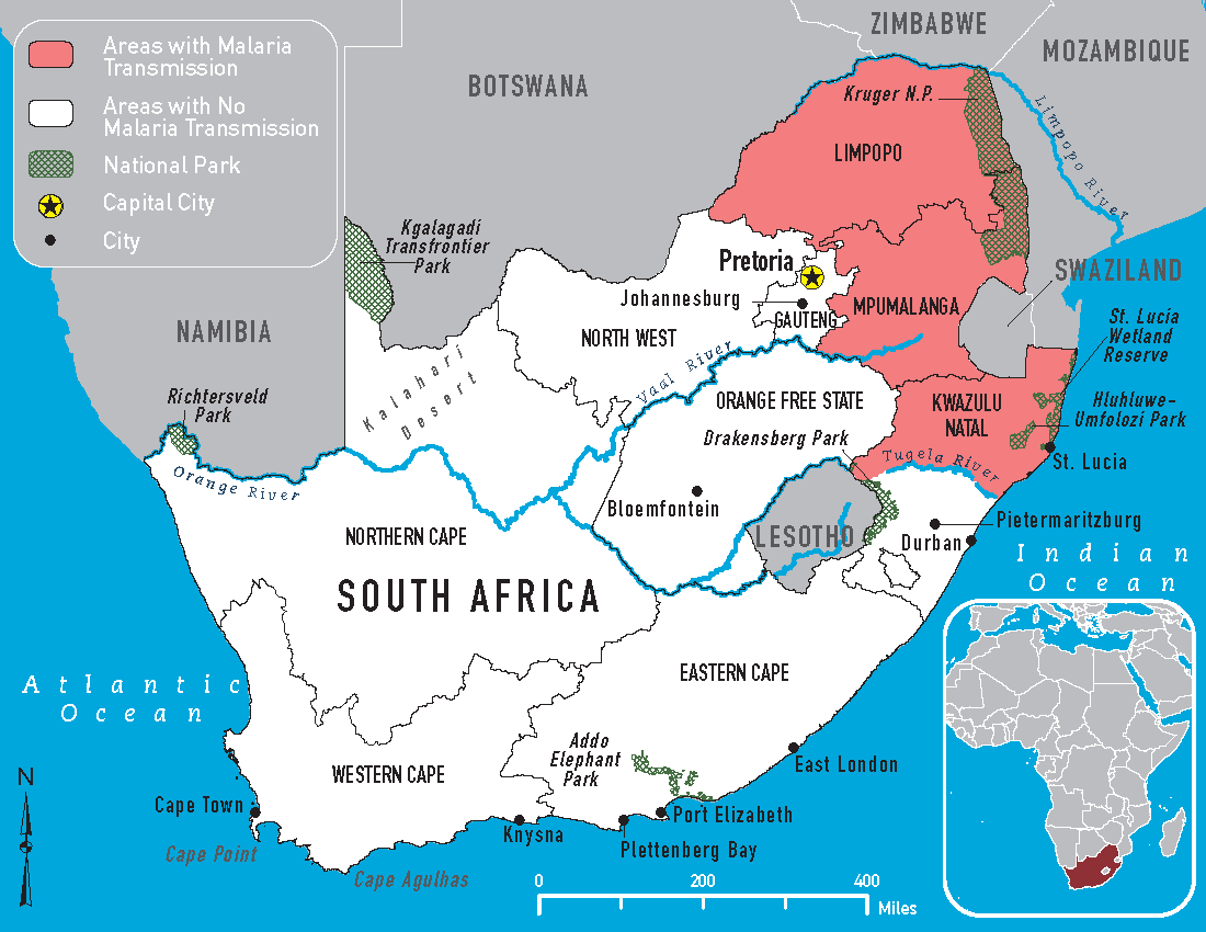 malaria risk map of south africa for 2018